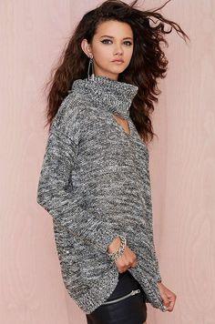 Ellady Grey Long Sleeved Drop Shoulder Sweater