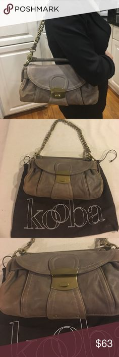 Grayish Taupe Kooba Purse Grayish Taupe Kooba Purse with original dust bag. Can be worn with or without shoulder strap Kooba Bags