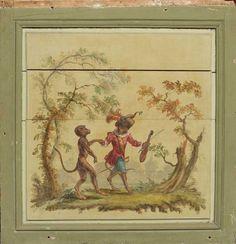 Panneau de boiserie à décor d'une singerie dans un encadrement mouluré ; (fragmentaire). XVIIIe siècle (fentes)