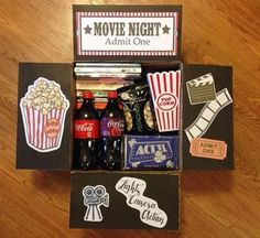 movie night box You are in the right place about DIY Gifts Here we offer you the most beautiful pictures about the DIY Gifts just because you are looking for. When you examine the movie night box part Diy Best Friend Gifts, Bf Gifts, Diy Gifts For Boyfriend, Homemade Gifts For Friends, Homemade Birthday Gifts, Boyfriend Care Package, Boyfriend Presents, Cute Gifts For Friends, Care Package Ideas For Boyfriend Just Because