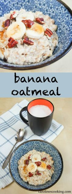 Banana oatmeal is incredibly easy to make and so delicious - naturally sweet and full of great energy, it's sure to be a breakfast favorite. Healthy Oatmeal Recipes, Banana Recipes, Healthy Breakfast Recipes, Brunch Recipes, Brunch Ideas, Dinner Ideas, Camping Breakfast, Best Breakfast, Breakfast Ideas