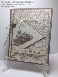 Happy Birthday Masculine card using Stampin' Up Traveler and World Map stamp sets along with the new 2015 in color Tip Top Taupe.  Please visit my blog and comment craftingbuddy.blogspot.com