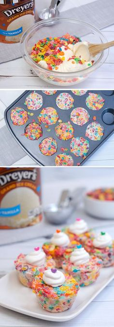 Dreyer's Funfetti Crunchers: These bite-sized treats are colorful, crunchy and kid-approved! Simply mix Dreyer's Vanilla ice cream with fruity cereal, press into muffin tins and refreeze. Then, pop them out to enjoy a fun-tastic dessert that will turn any ordinary night into a party!::