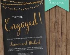 Engagement Party Invitation, Chalkboard Engagement Party Invite, Engagement Dinner, Glitter Engagement Party Invitation, DIY Printable LINK