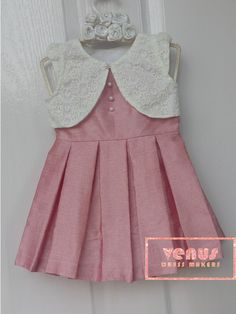 Kids frocks design - venus dress makers white and rose combination cute dress Baby Girl Frocks, Baby Girl Party Dresses, Frocks For Girls, Little Girl Dresses, Kids Dress Wear, Kids Gown, Kids Wear, Baby Frocks Designs, Kids Frocks Design