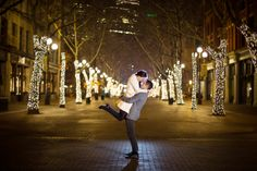 Night engagement at Pioneer Square, Seattle WA - by Seattle based wedding photographer Nick Leung