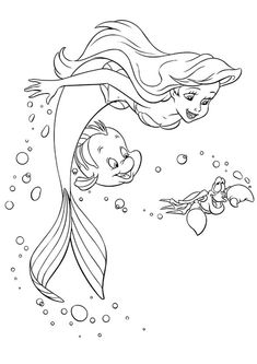 Ariel Coloring Pages, Mermaid Coloring Book, Disney Princess Coloring Pages, Disney Princess Colors, Coloring Pages For Girls, Disney Colors, Cartoon Coloring Pages, Printable Coloring Pages, Coloring For Kids