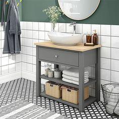 Trafalgar 840mm Grey Countertop Vanity Unit and Oval Basin | Victorian Plumbing UK