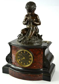 France 19th C bronze and marble mantle clock