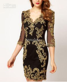 Wholesale cheap fashion dresses online, Vintage Dresses   - Find best  2015 Fashion Dresses DP276 Elegant Sexy Deep V-Neck golden embroidery lace slim women's dresses at discount prices from Chinese Work Dresses supplier - annaluo on DHgate.com.