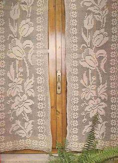 """Patrón #212: Cortina """"Flores de Primavera"""" a Crochet #crochet http://blgs.co/2qhF5-"""