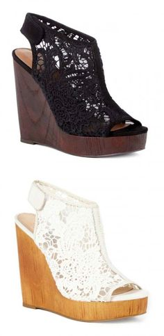 Stunning crochet platform wedges with a slingback Velcro strap and a wooden wedge