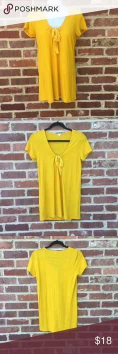 """J. Crew Knit Shirt Yellow Top Size Small J. Crew Top •Yellow •Excellent condition •Grosgrain ribbon at neckline •Size Small •60 cotton/40 modal •Approx. Measurements: 27""""long; 16"""" across armpits; 14"""" across shoulders J. Crew Tops Tees - Short Sleeve"""