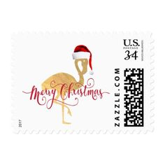merry christmas gold foil look flamingo postage