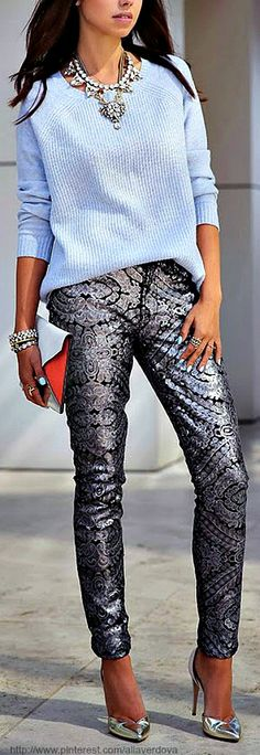 This is a great outfit for the new year. It says comfort yet business. Love the metallic and the blue.