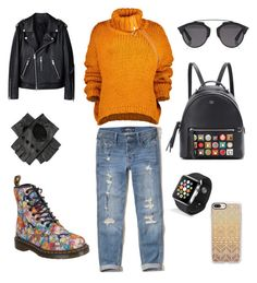 """Cool style"" by laura-stefanica on Polyvore featuring Dr. Martens, Hollister Co., Marques'Almeida, Fendi, Casetify, Black, Christian Dior and Apple"