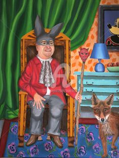 Le Roi du Mensonge/The King of lies Painting Wood Canvas, Oil On Canvas, Canvas Art, Art Original, Original Paintings, Mickey Mouse, Portraits, Stamp, Figurative Art