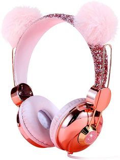 Kids Headphones, Wired Over Ear Volume Limiting Headphone for Kids Girls Children Teens School, Pink Plush Bear Ear Sparkly Headband Anime Headphones with MIC for Cell Phones Tablets Cat Headphones, Girl With Headphones, Headphone With Mic, Teen Fashion Outfits, Girls Fashion Clothes, Les Inventions, Mode Kawaii, Unicorn Fashion, Unicorn Kids