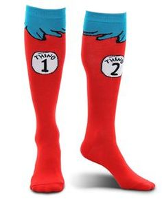 Seuss Thing 1 & 2 Costume Crazy Happy Socks Knee High Adult Shoe Size for sale online Halloween Club, Halloween Fancy Dress, Halloween Costumes For Kids, Adult Costumes, Trendy Halloween, Happy Halloween, Dr. Seuss, Halloween Accessories, Costume Accessories