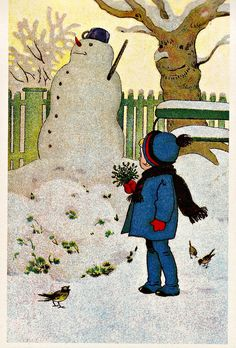 Artist and date of publication unknown. From a postcard book published by Darling and Company - Seattle Vintage Christmas Photos, Retro Christmas, Vintage Holiday, Christmas Pictures, Christmas Snowman, Christmas Child, Illustration Noel, Christmas Illustration, Vintage Greeting Cards