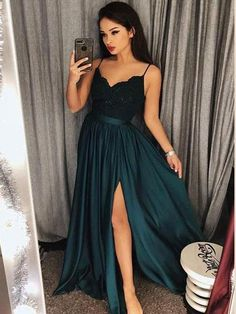 a653680cae4 Spaghetti Strap Prom Dresses Long Lace V Neck Maxi High Split Evening Ball  Gowns 2018 APD3264