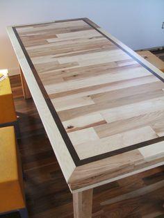 "Dining Table - Modern Design in Stunning Hickory & Brizilian Walnut Inlay. 60"" x 32"" x 30"". $730.00, via Etsy."