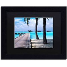 Trademark Fine Art Pathway to Paradise Canvas Art by David Evans, Black Matte, Black Frame, Size: 16 x 20, Multicolor