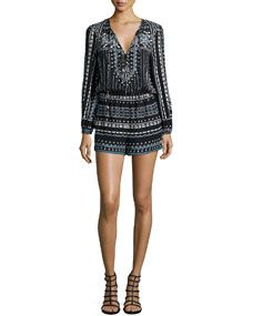 BCBGMAXAZRIA Nancie Long-Sleeve Multipattern Romper, Black
