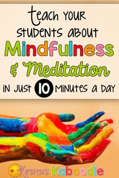 Are you interested in teaching your students about mindfulness and meditation? Research shows that providing mindfulness and meditation instruction to kids improves academic achievement and reduces anxiety and stress. Give it 10 minutes each day and watch Teaching Mindfulness, Mindfulness For Kids, Mindfulness Activities, Mindfullness Activities For Kids, Mindful Activities For Kids, Emotions Activities, Mindfulness Training, Wellness Activities, Mindfulness Exercises