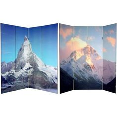 6' Tall Double Sided Matterhorn/Everest Canvas Room Divider, Multicolor