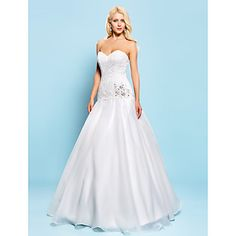 Ball Gown Sweetheart Floor-length Lace And Organza Wedding Dress – USD $ 199.99 I think this is gorgeous