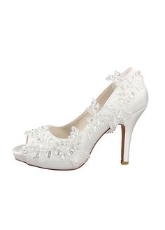8b413c901dae Buy discount Fabulous Satin Peep Toe Stiletto Heels Wedding Shoes With Beaded  Lace Appliques at Dressilyme.com