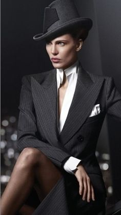 Boss Lady: First image released from the Donna Karan fall/winter ad campaign featuring Aymeline Valade. Photographed by Russell James. Donna Karan, Dandy Look, Looks Style, My Style, Style Masculin, Glamour, High Fashion, Womens Fashion, Fashion Beauty