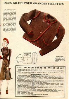 """Gilet marron """"pour grande fillette"""" du numéro """"spécial tricot"""" de Nouveauté février 1940"""