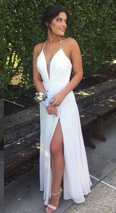 Sexy White Prom Dress 2017, V Neckline Wedding Dress, Ball Gown, Graduation Dresses, Formal Dress For Teens, pst1577