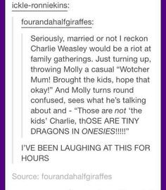 """This truth about Charlie Weasley: You're Gonna Need Some """"Harry Potter"""" Knowledge To Get These Jokes Harry Potter Tumblr Posts, Harry Potter Jokes, Harry Potter Fandom, Harry Potter World, Hogwarts Tumblr, Disney Hogwarts, Harry Potter Feels, Harry Draco, Harry Potter Marauders"""