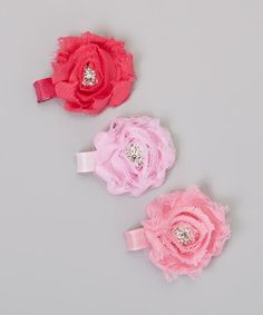 Take a look at this Pink Flower Clip Set by Charlotte Rose Couture on #zulily today!