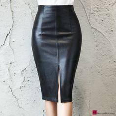 Black PU Leather Skirt Women 2020 New Midi Sexy High Waist Bodycon Split Skirt Office Pencil Skirt Knee Length Plus Size Leather Midi Skirt, Black Midi Skirt, Pencil Skirt Black, Pencil Skirts, Pencil Dresses, Maxi Skirts, Casual Skirts, Denim Skirt, Split Skirt
