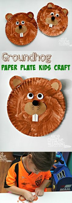 A fun and easy Groundhog Paper Plate Craft for kids - simplytodaylife.com #groundhogcraft #groundhogday #groundhog #kidscraft #paperplatercraft #wintercraft #springcraft
