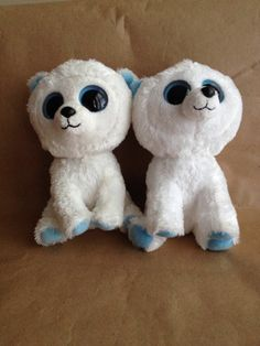 """Lot of 2 Tundra Polar Bear Beanie Boo Babies 6"""" Retired and Hard to Find 2012"""