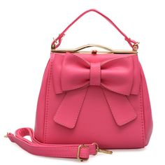 VK Beautiful Tote Handbag With Big Bowknot - Fushia Bow Purse, Tote Handbags, Bows, Shoulder Bag, Purses, Retro, Vintage, Beautiful, Sweet