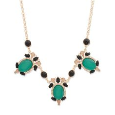 JAELYN NECKLACE - $42  It's hard to top the timeless marriage of emerald and gold tones - Jaelyn steals the show. This ornate stunner will pair beautifully with emerald or gold studs.