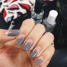 Greige asymmetric + negative space nails