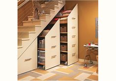 Staircase Storage! I love this idea. What a great way to use unused space