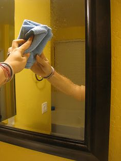 Mirror Cleaner  - 1 part white vinegar  - 1 part 70% Isopropyl Alcohol (a.k.a. rubbing alcohol)  - 1 part pure or distilled water    Directions: Combine ingredients and spray on mirrors. Wipe clean with microfiber cloth or newspaper. Note: The smell of this cleaner is kind of strong. I really like to add a few drops of either lemon or orange essential oils.