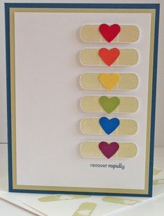 handmade get well card . luv the band aids . column of band aids, each with a different colored heart . get well soon . DIY get well soon card Get Well Wishes, Get Well Soon Gifts, Scrapbooking, Scrapbook Cards, Cool Cards, Diy Cards, Diy Cadeau, Get Well Cards, Heart Cards