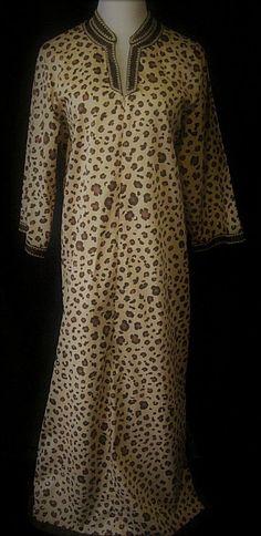 I. Magnin Robe Caftan Ladies Lg Animal Leopard Print, Zipper, Long Sleeves #IMagnin #RobesCaftan #Everyday