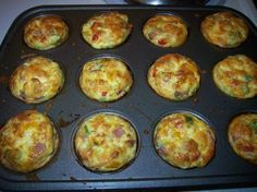 Egg omelet muffins 12 eggs, filling of you choice (meat, onions, etc), milk if desired Place filling in muffin tin (about 2/3 ) Beat egg with milk (season to taste) Pour egg mixture into tins to edge Bake at 375 for 25- 30 minutes