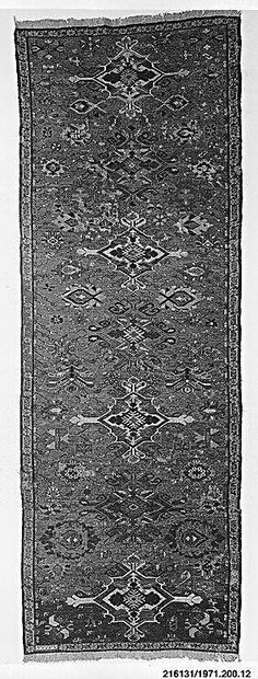 caucasian sumak rug  Date: 1880 Geography: Caucasus Dimensions: 39 in. high 281.94 in. wide (99.06 cm high 111 cm wide) Classification: Textiles-Rugs Credit Line: Bequest of Julian Clarence Levi, 1971 Accession Number: 1971.200.12