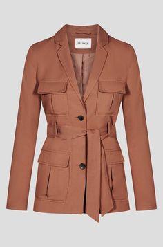 Jacke mit Bindegürtel - Schoko Push Up Hose, Bodycon, Pullover, Blazer, Outfit, Shirts, Coat, Fashion, Stripe Pattern